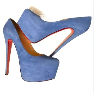 Auth Louboutin Daffodil 160 Blue Suede Platforms
